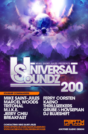 Universal Soundz 200 with Mike Saint-Jules, Ferry Corsten, Thrillseekers, Marcel Woods, M.I.K.E., Breakfast, and more! (09-08-09)