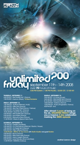 UNLiMiTED FRiDAY 200 Celebration - 70+ Hours of Sets (09-11-08)